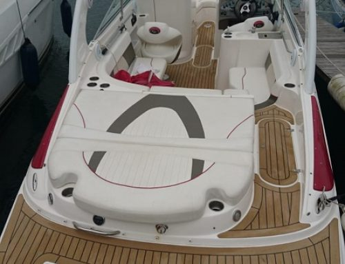 Permateek synthetic decking recently fitted on a motor boat in Lymington
