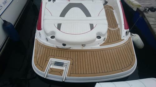 AFTER - Permateek decking fitted to the bathing platform of a motor boat in Lymington