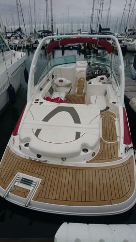 Permateek decking fitted on a motor boat bathing platform in Lymington
