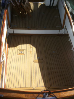 Decking on a beautiful classic motor boat