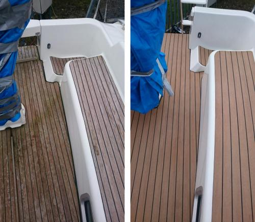 Permateek Synthetic decking on a sailing boat before & after