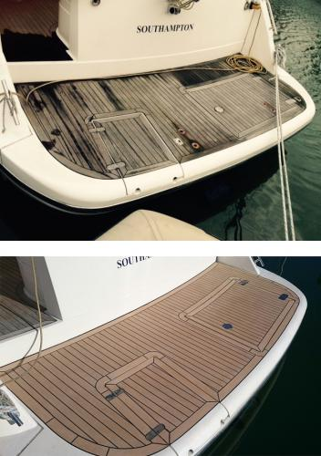 Permateek Synthetic decking on the bathing platform of a motor boat before & after