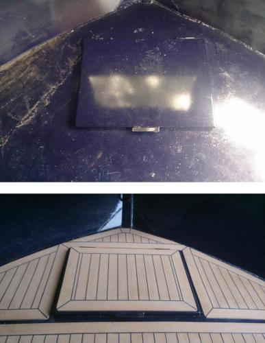 Permateek Synthetic decking on a Barge before & after