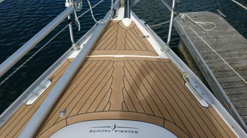 Beautiful bow synthetic decking on a sailing boat