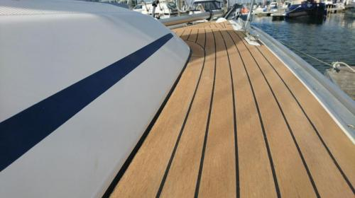 Beautiful side decks  synthetic decking on a sailing boat