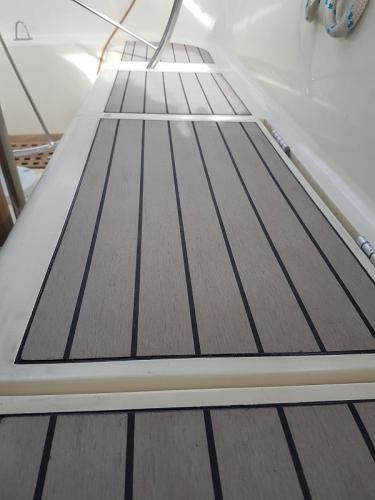 Weathered Permateek Decking on a sailing boat