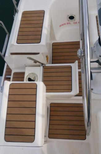 Sailing boat decking without margins in Chichester Marina
