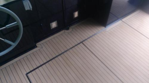 Synthetic decking on a barge