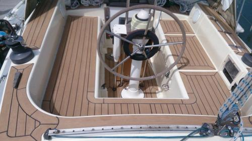 Beautiful synthetic decking completed on a sailing boat
