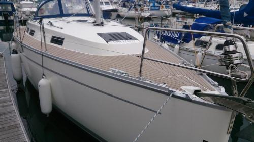 Sailing boat synthetic decking in Chichester Marina