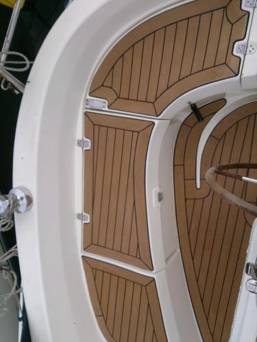 Beautiful decking completed on a sailing boat using Permateek synthetic decking
