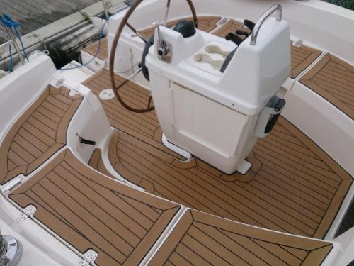 Synthetic boat decking completed on a sailing boat
