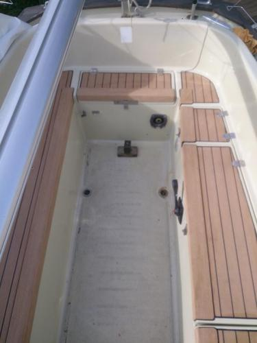 Decking completed on a sailing boat in Chichester Marina