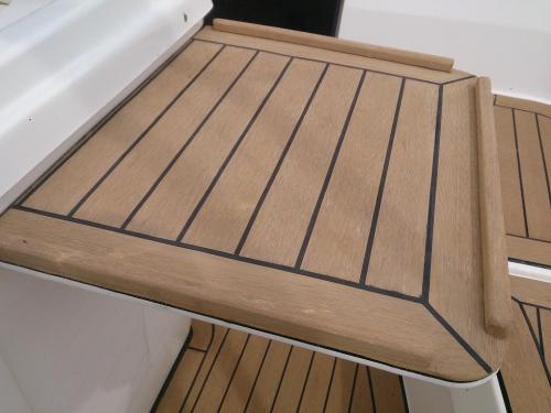 A bespoke Permateek decking table made for a customers boat in Chichester Marina