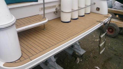 Boat decking on bathing platform