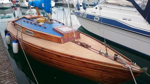 Decking on a sailing boat in Chichester Marina