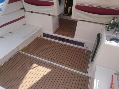 Decking on the cockpit of a motor boat