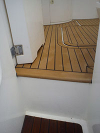 Composite decking on step